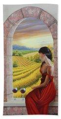 Mujer En Rojo Beach Sheet
