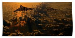 Vulcan Bomber Sunset Beach Towel by Ken Brannen