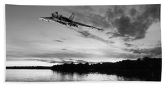 Beach Towel featuring the digital art Vulcan Low Over A Sunset Lake Sunset Lake Bw by Gary Eason