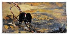Vulture With Oncoming Storm Beach Towel