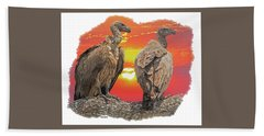 Vultures At Sunset Beach Towel