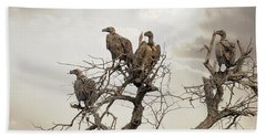 Vultures In A Dead Tree.  Beach Towel by Jane Rix