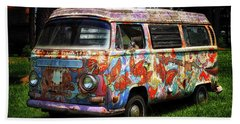 Beach Towel featuring the photograph Vw Psychedelic Microbus by Bill Swartwout Fine Art Photography
