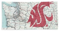 W S U Cougar Country Map Beach Towel