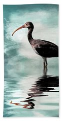 Wading Ibis Beach Sheet by Cyndy Doty