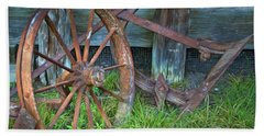 Beach Towel featuring the photograph Wagon Wheel And Fence by David and Carol Kelly