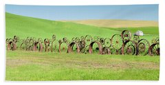 Wagon Wheels Stacked Palouse Washington Beach Towel by James Hammond
