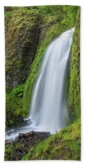 Beach Towel featuring the photograph Wahkeena Falls by Greg Nyquist