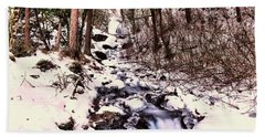 Beach Towel featuring the photograph Wahkeena Falls In Ice by Jeff Swan