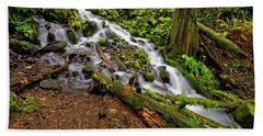Beach Towel featuring the photograph Wahkeena Falls by Jonathan Davison