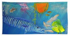 Wahoo Dolphin Painting Beach Towel