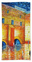 Beach Towel featuring the painting Wailing Wall Original Palette Knife Painting by Georgeta Blanaru