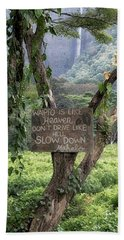 Beach Towel featuring the photograph Waipio Valley Road Rules by Susan Rissi Tregoning
