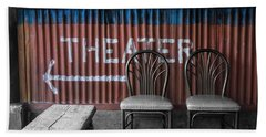 Corrugated Metal Theater Sign Beach Towel