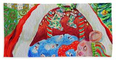 Waiting For Santa Beach Sheet by Li Newton