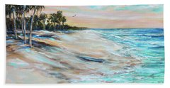 Beach Towel featuring the painting Waiting For Surf by Linda Olsen