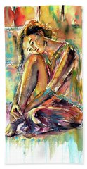 Beach Towel featuring the painting Waiting For You by Kovacs Anna Brigitta