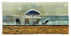 Beach Sheet featuring the mixed media Waiting On High Tide by Trish Tritz