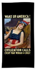 Wake Up America - Civilization Calls Beach Towel