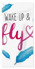 Wake Up And Fly Watercolor Beach Towel