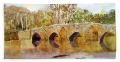 Wales Dipping Bridge Beach Towel by Larry Hamilton