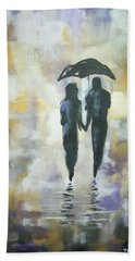 Beach Sheet featuring the painting Walk In The Rain #3 by Raymond Doward