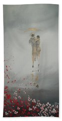 Beach Towel featuring the painting Walk In The Storm by Raymond Doward