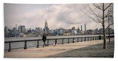 Walking Along Hoboken's Hudson River Waterfront Walkway Beach Towel