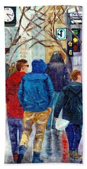 Walking Along St Catherine Street Downtown Montreal Painting For Sale By Grace Venditti Beach Towel