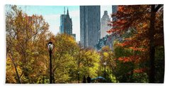 Walking In Central Park Beach Towel
