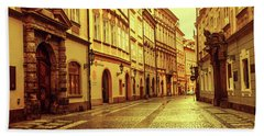Beach Towel featuring the photograph Walking In Prague. Series Golden Prague by Jenny Rainbow