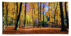 Walking In The Golden Woods Beach Towel