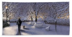 Beach Sheet featuring the painting Walking In The Snow by Veronica Minozzi