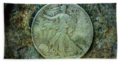 Beach Sheet featuring the digital art Walking Liberty Half Dollar Obverse by Randy Steele