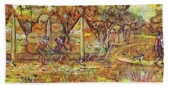 Walking The Dog 4 Beach Towel by Mark Jones