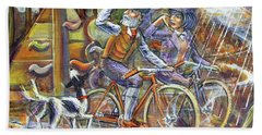 Walking The Dog 3 Beach Towel by Mark Jones