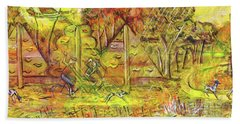 Walking The Dog 5 Beach Towel by Mark Jones