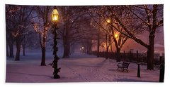 Walking The Path On Salem Common Beach Towel