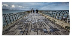 Beach Sheet featuring the photograph Walking The Pier by Perry Webster