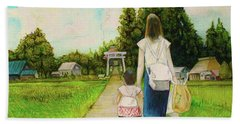 Walking To The Shrine Beach Towel