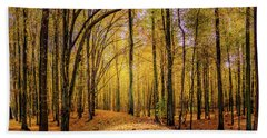 Walkway In The Autumn Woods Beach Sheet