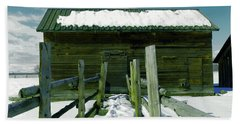Beach Towel featuring the photograph Walkway To An Old Barn by Jeff Swan