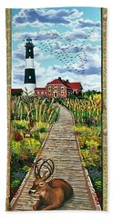Walkway To Fire Island Lighthouse Beach Towel