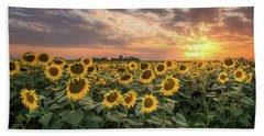 Wall Of Sunflowers Beach Towel