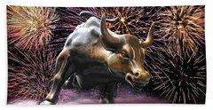 Wall Street Bull Fireworks Beach Towel