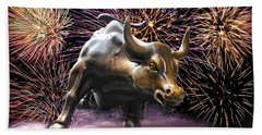 Wall Street Bull Fireworks Beach Sheet