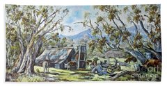 Wallace Hut, Australia's Alpine National Park. Beach Towel