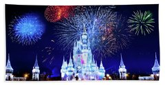 Walt Disney World Fireworks  Beach Towel by Mark Andrew Thomas