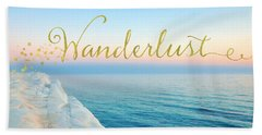 Wanderlust, Santorini Greece Ocean Coastal Sentiment Art Beach Towel