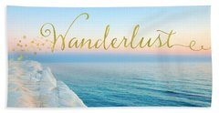 Wanderlust, Santorini Greece Ocean Coastal Sentiment Art Beach Towel by Tina Lavoie